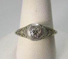 VINTAGE PLATINUM 18K WHITE GOLD FILIGREE DIAMOND RING ANTIQUE