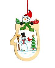 Wooden Christmas Tree Decoration Gloves Shape Snowman Head Xmas Hanging Ornament