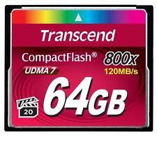 Transcend 64GB 800x CompactFlash (UDMA 7) High-Speed CF Memory Card - Brand New