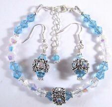 Bracelet and Earrings Adorned with Sky Blue and Clear AB Swarovski Crystal