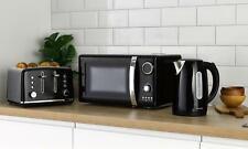 Daewoo Kensington 1.7L Pyramid Kettle,4 Slice Toaster & 20L Microwave Set- Black