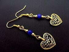 A PAIR OF GOLD COLOUR & BLUE JADE BEAD  DANGLY HEART  EARRINGS. NEW.