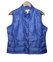 Talbots Womens Medium Petite Down Puffer Vest Full Zip No Hood Pockets Blue