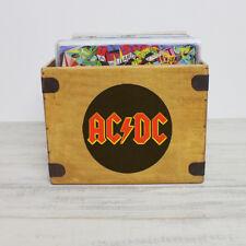 "AC/DC Record Box Large 80 Album Crate 12"" Vintage Heavy Metal Rock Vinyl"