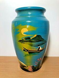 Decorative Blue Vase With Boat Scene