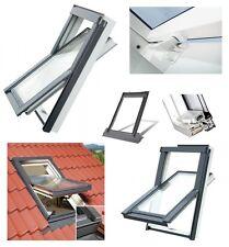 Dachfenster Kunststoff TLP 66x118 Weiß PVC Schwingfenster + Eindeckrahmen FK06