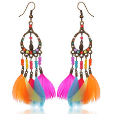 Boho Fashion Women Multi-color Seed Beads Feather Drop Dangle Ear Hook Earrings