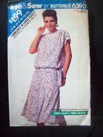 Vintage Butterick Pattern 6390 Blouson Top Flared Skirt Size 6-14 UC/FF 1988 NOS