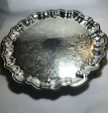 """Vintage 16"""" English Silver Mfg Corp Ornate Round Serving Tray Footed Scalloped"""