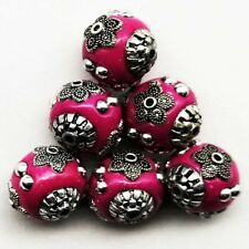 10Pcs Peach Indonesia Rare Earth Bronze Tibetan Silver Ball Pendant Bead W1602