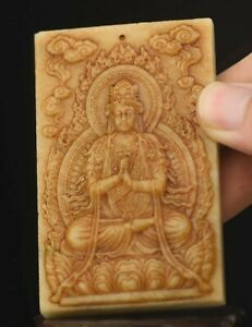 Chinese old natural hetian jade hand-carved statue buddha pendant 3.1 inch