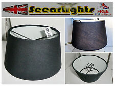 WALL LIGHT CANDLE LAMPSHADE CLIP ON CHANDELIER SHADE BLACK DRUM CONTEMPORARY BN