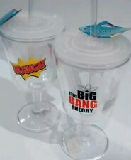 Big bang theory bazinga plastic glass with straw 2 pcs licensed soft drink Juice