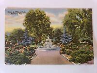 1948 Fountain Scene Wilson Park Florence Alabama AL Linen Postcard
