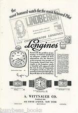 1928 Wittnauer Watch advertisement Longines watches, Lindbergh flight Guatemala.