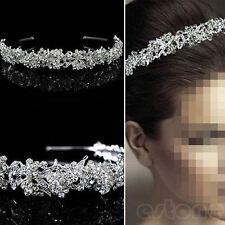 Women Sassy Crystal Wedding Bridal Tiara Silver Crown Hairband Luxury Headband
