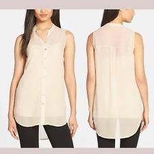 NWT $228 Eileen Fisher Mandarin Collar High/Low Silk Shirt Beige [SZ Small ] C81