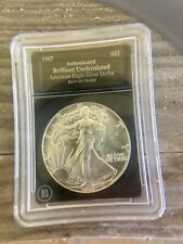 1987 U.S. American Eagle 1 oz. silver dollar MS BU Graded Slabbed Authenticated