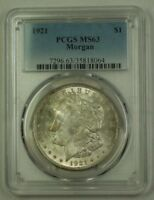 1921 US Morgan Silver Dollar $1 Coin PCGS MS-63 (F) 19