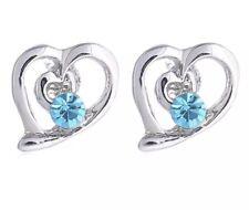 925 Sterling Silver Plated Earrings Studs Heart  Blue Cubic Women's Jewellery