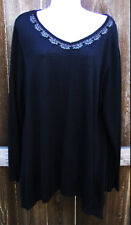 JOSEPH A BLACK GEMS RAYON BLEND LONG SLEEVE EVENING SWEATER KNIT TOP 2X 3X NEW