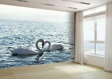 Swans Hearts on the Sea Wallpaper Mural Photo 8276856 premium paper