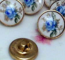 Vintage Glass buttons Blue Rose Limoges Button Bulk Buttons Flower Floral #923