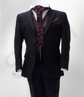 Boys Formal Black Wedding Suits 5 Pieces Pageboy Cravat Suit Age 6 M To 15 YRS