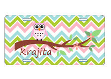 PERSONALIZED LICENSE PLATE CUSTOM CAR TAG PINK OWL CHEVRON