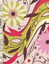 Gypsy Pink Up & Down Flowers by Felicity Miller bty PRICE REDUCED