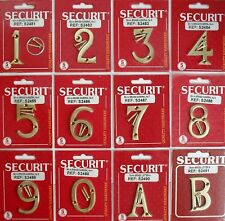 Brass Door Numbers all numerals plus A & B 50mm Securit