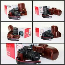 coffee leather case bag for Canon EOS 1200D REBEL T5 Kiss x70 SLR camera brown