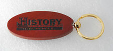 COLLECTIBLE HISTORY CHANNEL CLUB LIFE MEMBER WOOD & GOLD PLATED METAL KEY CHAIN