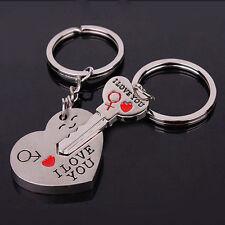 New Lover Keychains 1 Pair Valentine's Day Keyring Keyfob Heart Key for Lover J