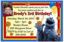 SESAME STREET COOKIE MONSTER BIRTHDAY PARTY INVITATIONS