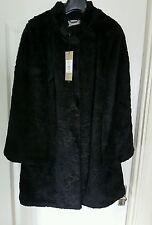 Button Knee Length Faux Fur Formal Coats & Jackets for Women