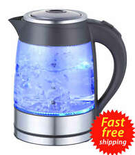 Cordless Electric Glass Kettle Hot Water Clear Boiler Blue LED Light 64oz 1.8L