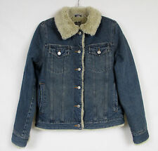GUIDE SERIES Womens Button Front Sherpa Lined Denim Trucker Jacket Coat Tag SM