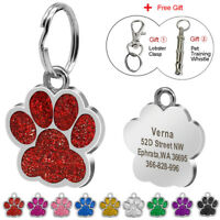 Personalized Dog Tags Engraved Puppy Pet ID Name Collar Tag Paw Glitter&Whistle