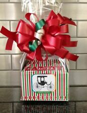 Christmas Candy Holiday Candy Gift Box-Basket Wrapped With  Red Bow & Card