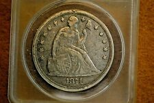 1871 Seated Liberty Dollar ANACS F 15 details