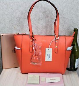 Radley ~ large ~ BNWT 'Silk Street' grained, orange leather tote/shoulder bag