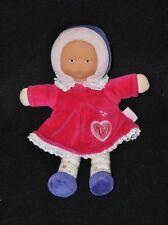 Peluche doudou poupée poupon COROLLE robe rose fushia coeur col 25 cm TTBE