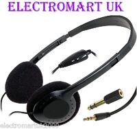 STEREO / MONO TV HI-FI HEADPHONES LONG 5M CABLE LEAD VOLUME CONTROL