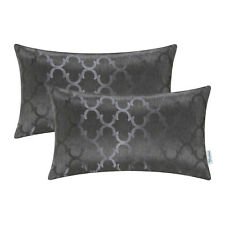 2 Pack Rectangle Cushion Covers Pillow Cover Cases Accent Geometric 12X20 Grey