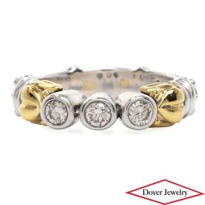 LAGOS Caviar Diamond 18K Gold Sterling Silver Elegant Ring 6.4 Grams NR