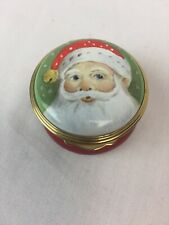 "Trinket Box Eximious Made in England SANTA round 1 3/4"" Christmas"