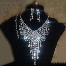S35 Silver Swarovski Clear Crystal Rhinestone Necklace Earring Jewelry Set Dress