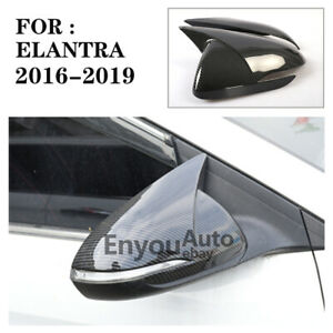 Carbon Fiber Rear View Wing Mirror Cover Trim Fit For Hyundai Elantra 2016-2019