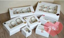10x Cupcake Box White Cardboard 1 2 4 6 Holder Hole Cake Container Party Wedding